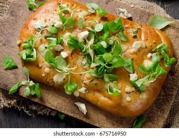 Homemade Italian Focaccia bread. Healthy flatbread