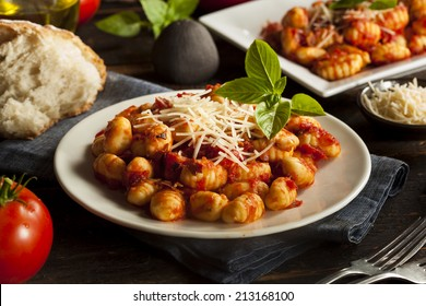 Homemade Italian Gnocchi with Red Sauce and Cheese