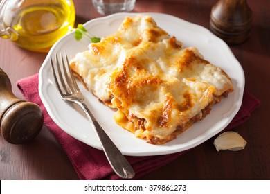 homemade italian lasagna on plate