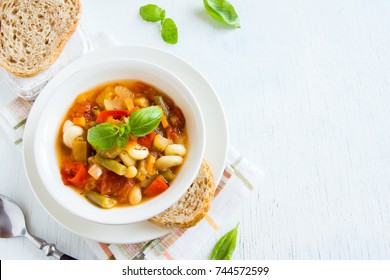Homemade Italian Minestrone Soup with Basil - healthy homemade hot vegetarian diet vegan meal food soup
