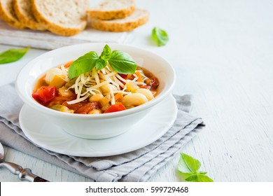 Homemade Italian Minestrone Soup with Cheese and Basil - healthy homemade hot vegetarian diet vegan meal food soup