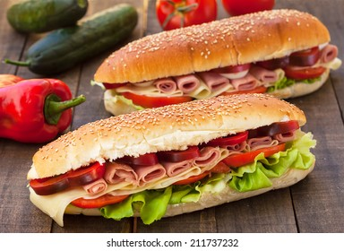 Homemade Italian Sub Sandwich with Salami, Tomato and Lettuce