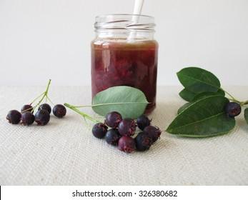 Homemade jam with juneberries