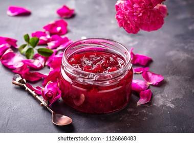 Homemade jam of rose petals. Selective focus