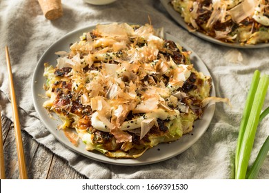 Homemade Japaense Okonomiyaki Cabbage Pancake with Mayo and Bonito