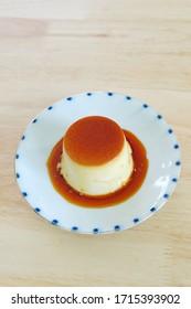 Homemade japanese caramel custard pudding