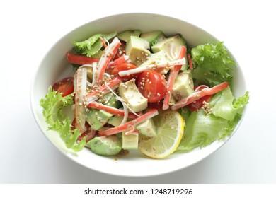 Homemade Japanese crab sticks and avocado salad