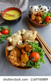 Homemade Japanese cuisine / Panda & Bear Onigiri with Japanese Curry & Katsu /  Fun to make and delicious to eat healthy meal
