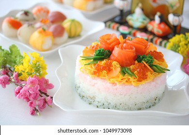 Homemade Japanese cuisines, sushi cake for japanese doll's festival.
