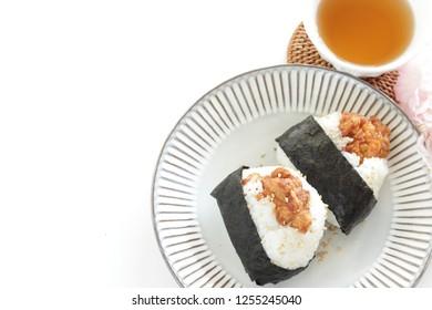 Homemade Japanese fried chicken rice all, Karaage Onigiri