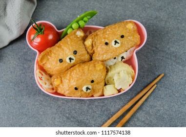 Homemade Japanese meal in bento box / Bear & Cat Inari Sushi Bento / Delicious and fun to make, healthy and ideal for light eater