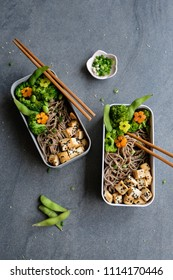 Homemade Japanese meal / Stir-Fry Soba Bento / Ideal take away food for working people, outings and picnic