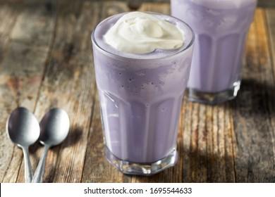 Homemade Japanese Purple Ube Milkshake with Whipped Cream