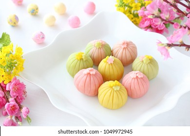 Homemade Japanese  sweet  for spring or japanese doll's festival.