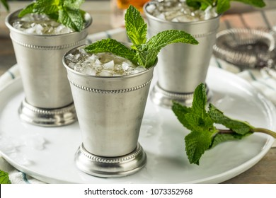 Homemade Kentucky Mint Julep with Sugar and Bourbon