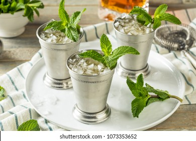 Homemade Kentucky Mint Julep with Sugar and Bourbon