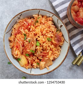 Homemade Kimchi Fried Rice, selective focus