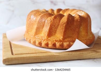 Homemade Kouglof cake on  light background