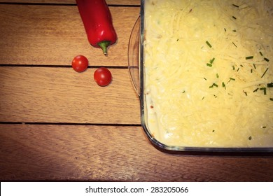 Homemade Lasagne on a wooden table top