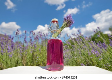 Homemade lavender syrup in a glass bottle in front of lavender