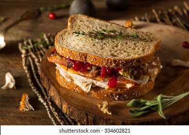 Homemade Leftover Thanksgiving Sandwich with Turkey Cranberries and Stuffing