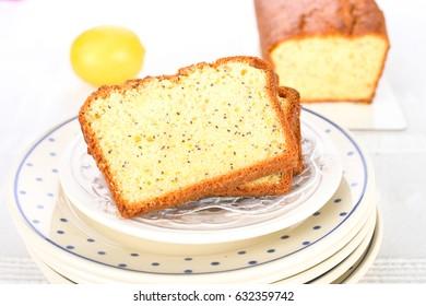 Homemade lemon cake with poppy seeds.