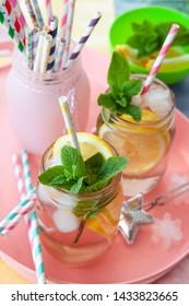 Homemade lemon iced tea with fresh mint leaves