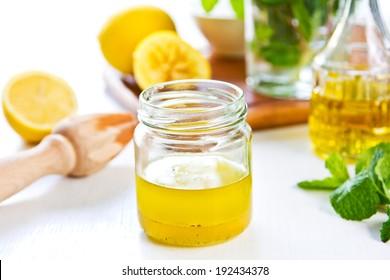Homemade Lemon vinaigrette dressing by fresh ingredients