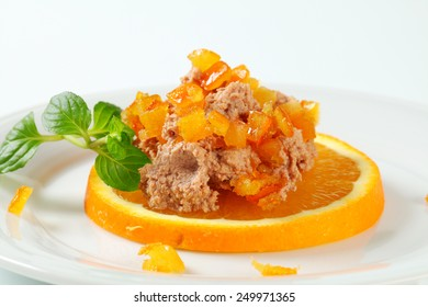 Homemade liver pate mixed with orange