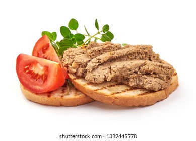 Homemade liver pate sandwich, close-up, isolated on white background.