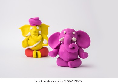 Homemade Lord Ganesha idol for Ganesh Chaturthi Festival using colourful clay or play dough