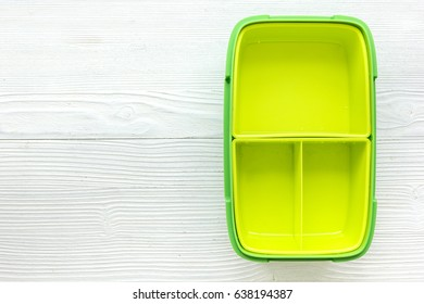 homemade lunch with green lunchbox top view mockup