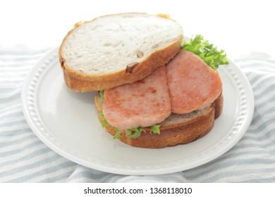 Homemade luncheon meat sandwich