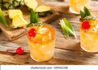 Homemade Mai Tai Cocktail with Pineapple Cherry and Rum