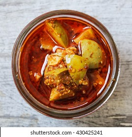 Homemade Mango Pickle in a Jar, selective focus