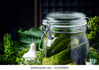 Homemade marinated cucumbers with dill and spices in a glass jar on a brown background, selective focus