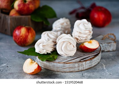 Homemade marshmallow made from apples. In rustic style, on a gray background. Selective focus