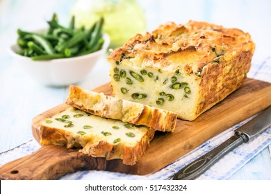 Homemade mashed potato and green beans frittata or baked vegetarian savoury loaf