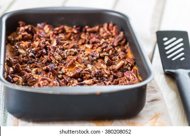 Homemade Mashed Sweet Potato Casserole with Caramelized Pecans