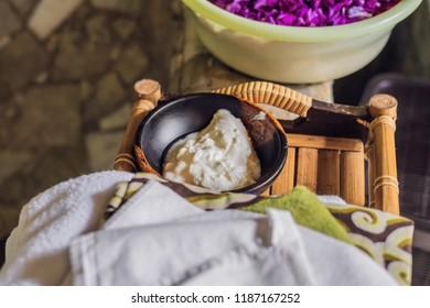 Homemade mask made of sour cream greek yogurt and olive oil. Diy cosmetics. Yogurt for spa treatments Lifestyle