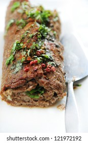 homemade meat loaf with herbs