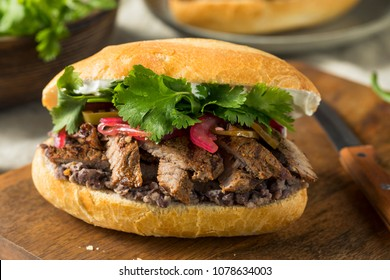 Homemade Mexican Beef Torta Sandwich with Cilantro and Jalapenos