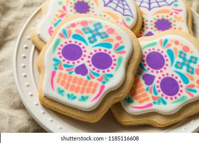 Homemade Mexican Sugar Skull Cookies for Dia De Los Muertos