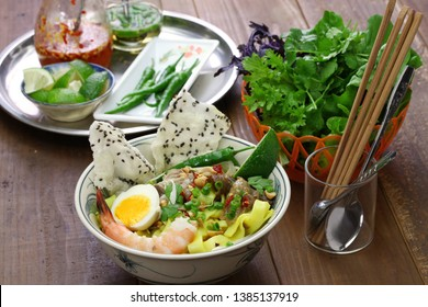 homemade Mi Quang; Vietnamese rice noodle cuisine