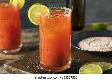 Homemade Michelada with Beer Salted Rim and Tomato Juice