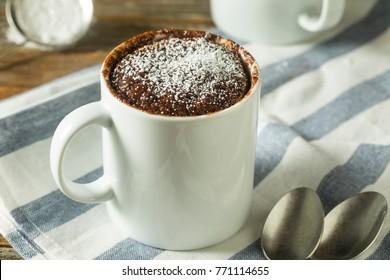 Homemade Microwave Chocolate Mug Brownies with Powdered Sugar