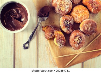 Homemade mini donuts from above on the wooden table
