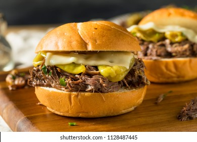 Homemade Mississippi Pot Roast Sandwich with Cheese