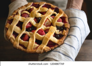 Homemade mixed berry pie food photography recipe idea