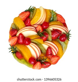 Homemade Mixed fruits cake, orange apple strawberry, cherry top view isolated on white background, clipping path included